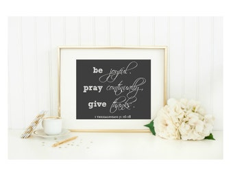 Chalkboard Be Joyful Pray Continually Give Thanks Home Art Print