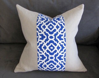 Blue Throw Pillow, Linen Decorative Pillow with Blue and White Lattice Accent, 20x20 Pillow Cover