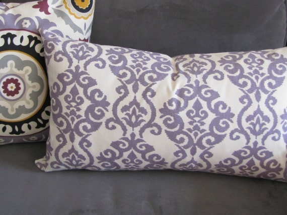 Decorative Pillow Lilac : Purple throw pillow Lilac sofa pillow damask print couch