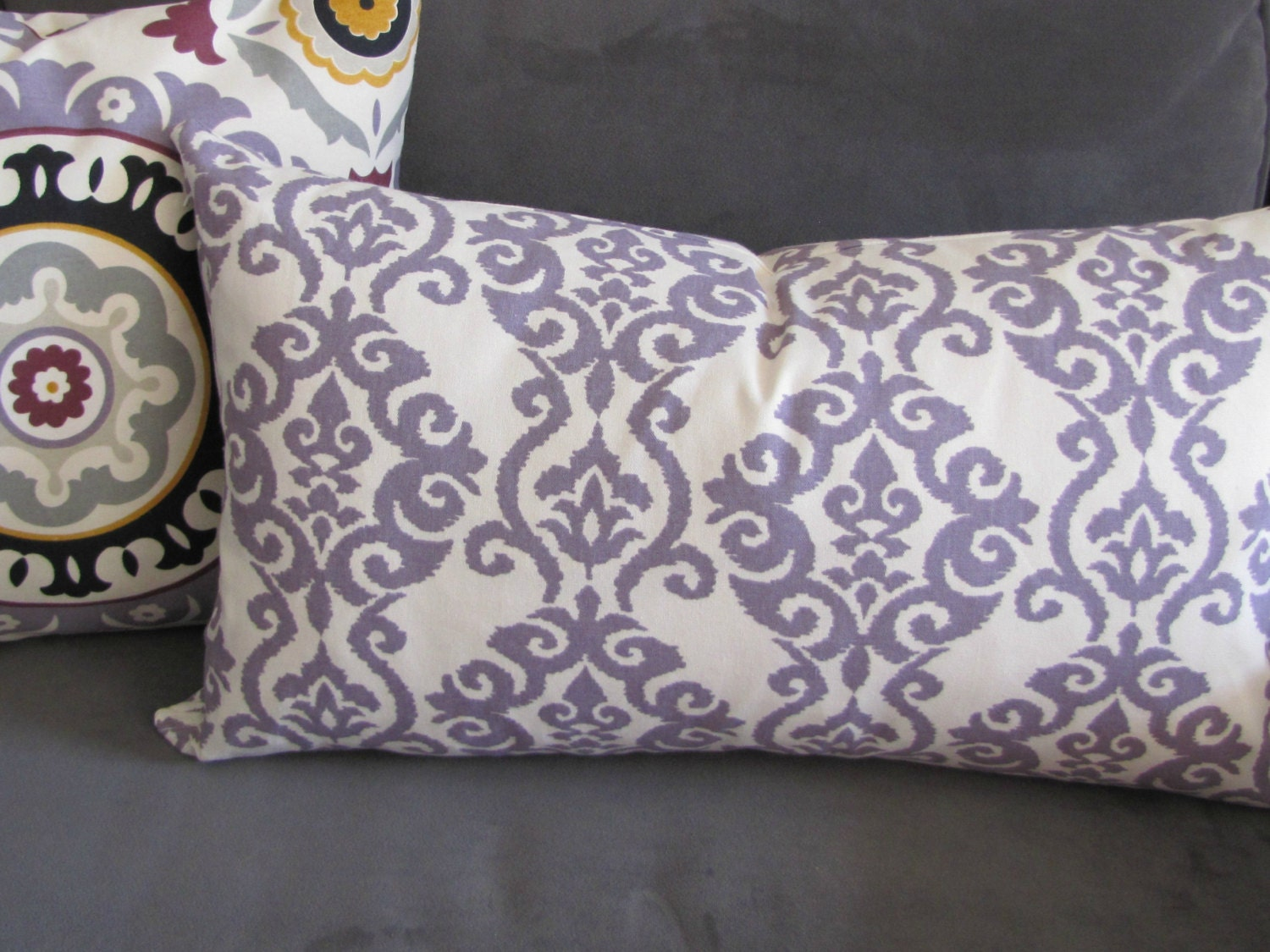Purple throw pillow Lilac sofa pillow damask print couch