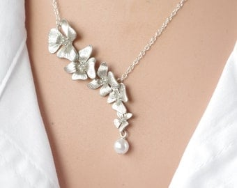 Silver Necklace Orchid Necklace Flower lariat Necklace Flower Wedding Bridal  Bridesmaid gifts Bridesmaid Jewelry gift for women real flower