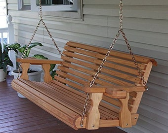 5 Foot Amish Heavy Duty 700 lb Roll Back Treated Porch Swing With Cupholders