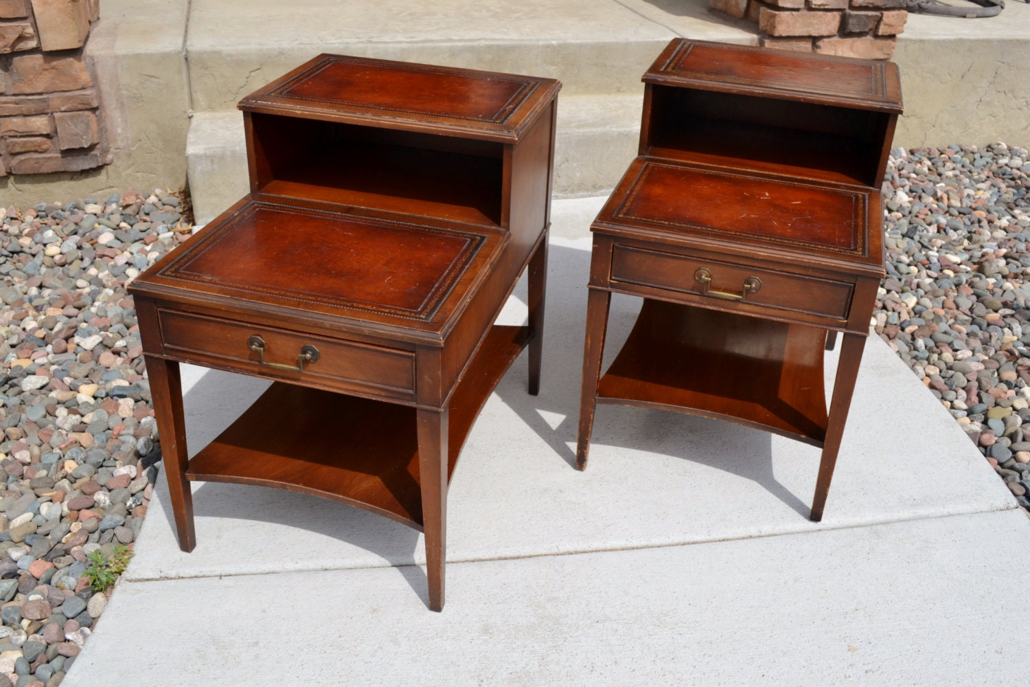 Antique End Tables Images: Pair Of Vintage Mahogany Leather Top Step End Tables By