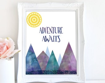 Adventure Awaits Print, Printable Nursery Art, Mountain Art, Quote Print, Nursery Wall Decor