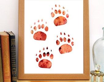 Wildlife Art, Instant Download Print, Paw Print, Rustic Decor, Cabin Print