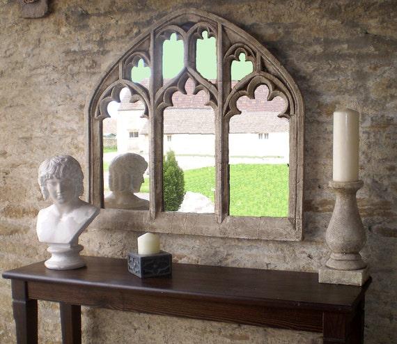 Triple Arch Over Mantel Church Window Mirror In Antique