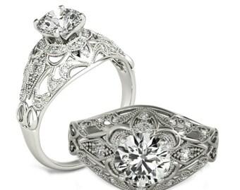 1 1/5 ct tw. Vintage Inspired Forever Brilliant Moissanite & Diamond Wedding Engagement Ring 14k, 18k, or Platinum - Raven Fine Jewelers