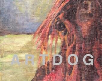 "RED HORSE ~ fine art PRINT 9"" x 12"""
