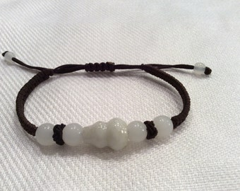 Jadeite jade adjustable bracelet