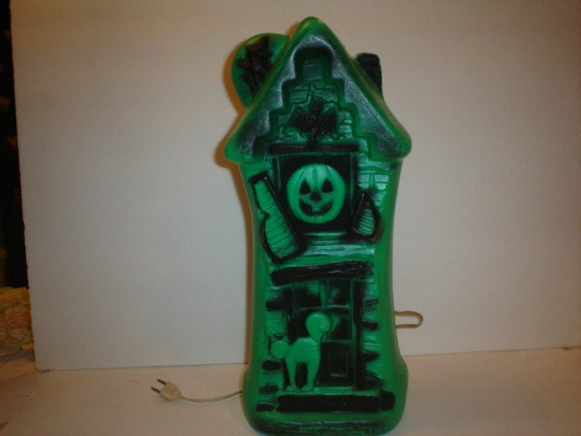 Old Vintage Halloween Plastic Blowmold Blow Mold Light Green