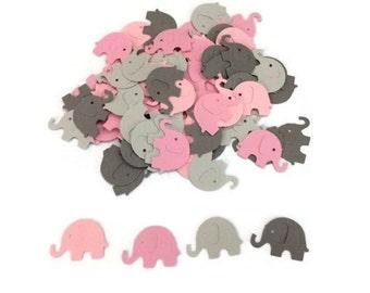 100 Assorted Pink and Grey Elephant Confetti, Die Cut Elephant, Baby Shower, Elephant Theme Party, Elephant Décor, Elephant birthday party