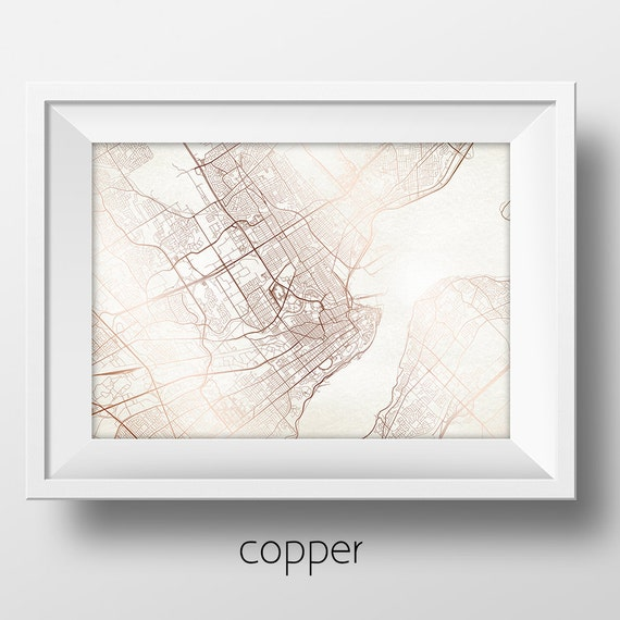 Quebec street map modern minimalist art print office or home for Minimalist house quebec