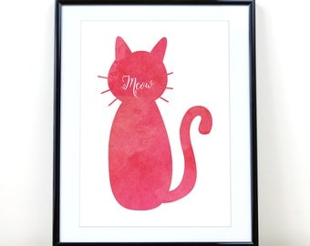 Cat printable Meow print Meow Pink watercolor cat printable Modern Cat Typography Digital Print  Instant Download