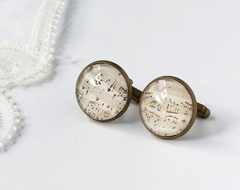 Music cufflinks - Cameo cufflinks - gift for him