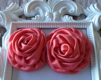2 Coral Satin Rolled Rosette Flowers, Wholesale Rosette, Wholesale Flowers, DIY headband, Boutique Supplies
