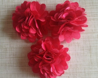 "Mini Satin and Tulle Puffs, 2"" Satin Mesh Flower, Fuchsia/ Hot Pink Satin Flower, Wholesale Flower, Boutique Supplies, DIY Headband"