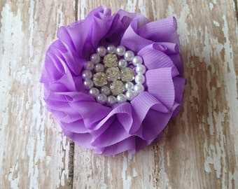 Lavender Beaded Chiffon Flower, Wholesale Flower, Boutique Supplies, DIY headband