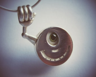 Happy Just Hanging Around Sterling Silver Pendant Smiley Face Guy with Glass Eye and Teeth