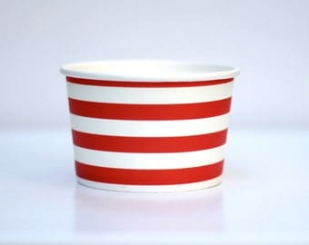 Ice Cream Cups Striped Red Pack of 10 Party Decor