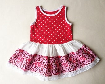 Baby girls dress Spring dress Little girl outfit Summer dress for baby girl Polka dot dress Fuchsia pink dress White dots dress 18 Months