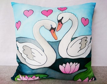 Wedding gift Bedroom decor Love gift Swan pillow cover Decorative throw pillow Hand painted silk pillow case Anniversary gift Couch decor