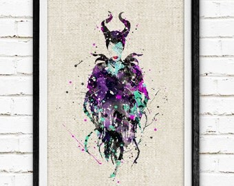 Disney, Maleficent, Poster, Watercolor Painting, Wall Art Print, Kids Decor, Nursery Room, Baby Wall Decor, Home Decor, Gift, 81