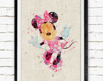 Disney, Minnie Mouse, Poster, Watercolor Painting, Wall Art Print, Wedding Gift, Kids Decor,  Nursery Decor, Baby Room Art, Home Decor, 104