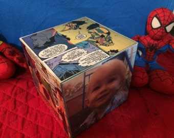 Super Hero Nursery Decor, Wooden Photo Block, Boy's Room decorations, Nursery decor, Comic Book Art,