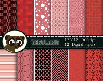 Coral digital paper for instant download. Red, pink and coral papers  for scrap booking, greeting cards and crafts