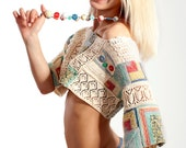 Hand knitt patchwork top and necklace - Ethnic top - Boho top - Made To Order