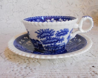 Vintage Copeland Spode Tower cup and saucer set,  blue, old mark