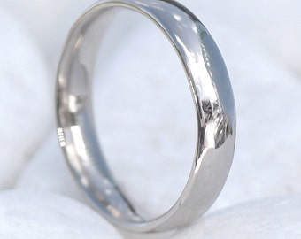 4mm Comfort Fit Wedding Ring - 18k White Gold or Platinum - Eco Friendly - Handmade to Size