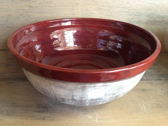 Large Pottery Mixing Serving Bowl