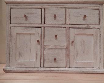 Dollhouse Miniature Welsh Dresser Bottom. Primitive (Made To Order)