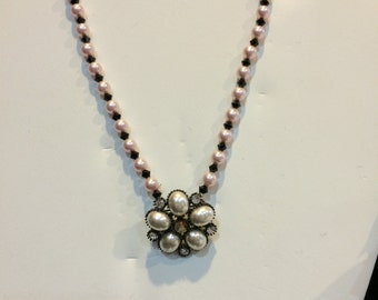 Pink & Black Pearl Necklace/Pin