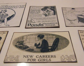 Vintage Retro Art Deco Advertising Home Roaring 1920's Fridge Magnets - Set of Six
