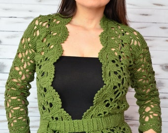 Women cardigan cotton, lace cardigan, crochet cardigan green, jacket knitted, waiscoat, crochet boho coverup, crochet coat woman