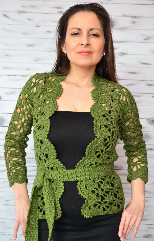 Women cardigan cotton lace coverup crochet cardigan green