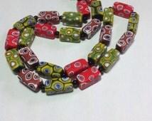 Vintage Venetian Millefiori Bead Necklace. Silky Matt Glass Beads. 1960s. Long Necklace. Moretti factory. Murano.