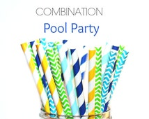 POOL PARTY- Paper Straws, Multipack, Combination, Aqua, Yellow, Teal  Damask, Chevron Shower, Pool Party