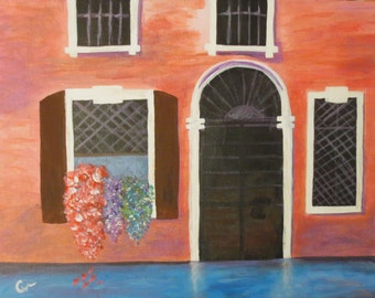 "Abstract ""Venice Flowers"" Original Acrylic Painting Canvas 14"" x 18"" CityScapes FREE SHIPPING"