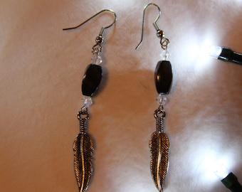 Silver Feather & Hematite Dangle Earrings
