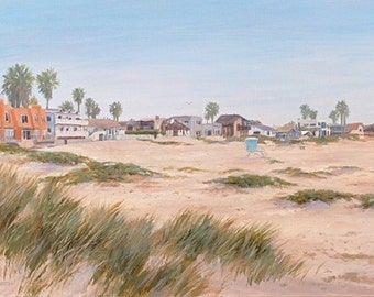 Beach greeting card, Pierpont Beach Sand Dunes, from original oil painting by Tina O'Brien