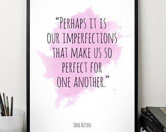 Perhaps it is our  ..., Jane Austen , Alternative Watercolor Poster, Wall art quote, Motivational quote, Inspirational quote,