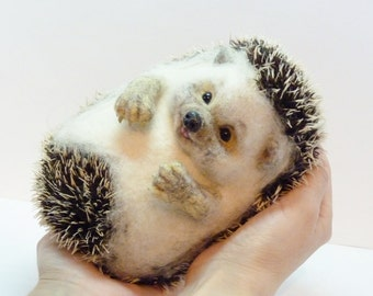 Needle felted hedgehog MADE TO ORDER  Needle felted animal  Miniature sculpture Handmade Handmade Felt doll Hedgehog as a gift