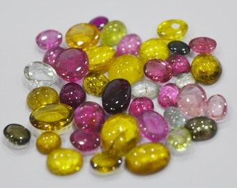 Natural multi colour tourmaline in various pieces lot  3X4mm to 8X10 mm approx. oval loose gemstone cabochon