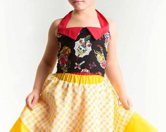 Girl Rockabilly full circle skirt with sugarskull