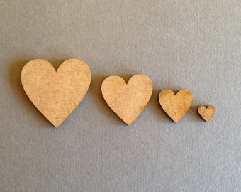 Laser Cut MDF Hearts embellishments 10mm  , Pack of 50