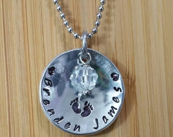 Hand stamped Mother's Necklace Pendant Baby Name with Birthstone Crystal
