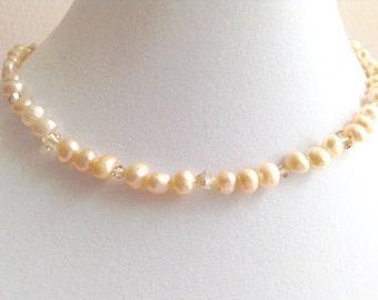 Pretty Peach Swarovski Crystal and Freshwater Pearl Necklace